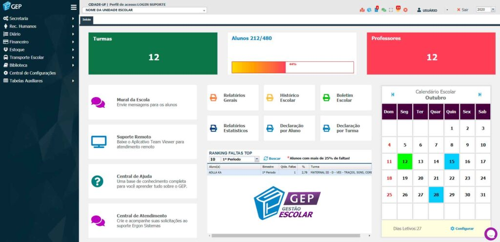 Interface do sistema GEP - Gestão Escolar
